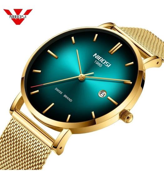 Relógio Nibosi Unissex Dourado E Verde 2362 Original 30m