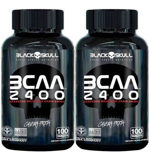 Kit C/ 2 Bcaa 2400 100 Tabletes Ca- Black Skull