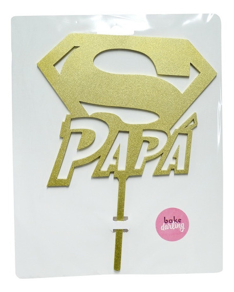 Letrero Pastel Cake Topper Super Papá Gold Bdlg-027