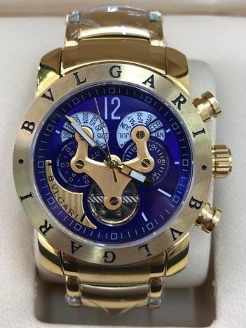Relógio Masculino Bullgari Automático Dourado Fundo Azul