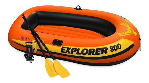 Lancha Inflable Explorer 300 Remos + Lago Bomba Rio Intex