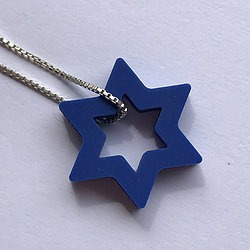 Colar De Estrela De David De Silicone Azul Prateado.