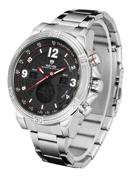 Relógio Masculino Weide Anadigi Wh6908 - Prata E Preto