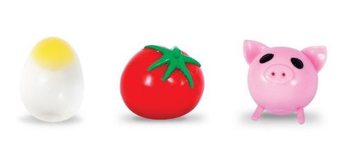 Kit Com 3 Splash Ball Ovo Tomate Porco Bola Grudenta