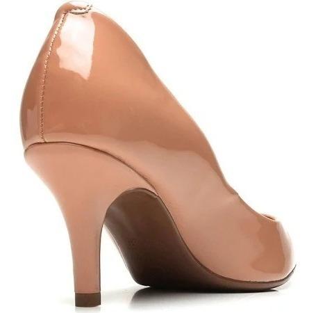 Sapato Scarpin Vizzano Femini Salto Medio Verniz Bege/ Nude
