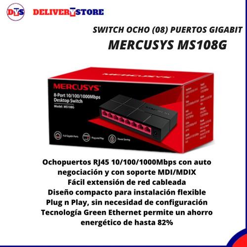 Imagen 1 de 4 de Switch 8 Puertos Gigabit 10/100/1000 Mercusys Ms108g