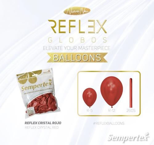 Globo Sempertex R-12 Reflex (cromado) Cristal Rojo X 50