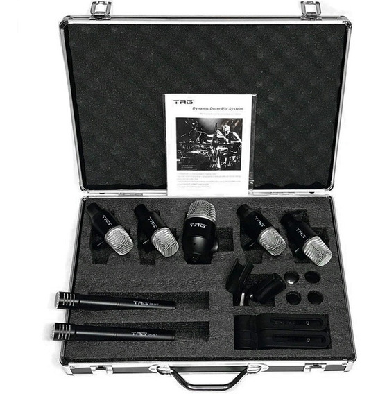 Kit Microfones Bateria 7 Mics C/ Clamps Tagsound Drum7