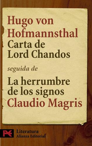 Imagen 1 de 3 de Carta De Lord Chandos, Hugo Von Hofmannsthal, Ed. Alianza