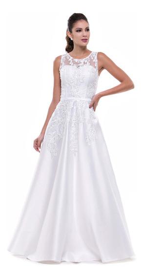 Vestido Branco Noiva Com Rendas Em Zibeline Luxo