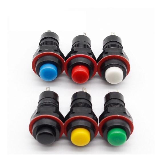 6x Botão Interruptor Metálico De Pulso 10mm Coloridos