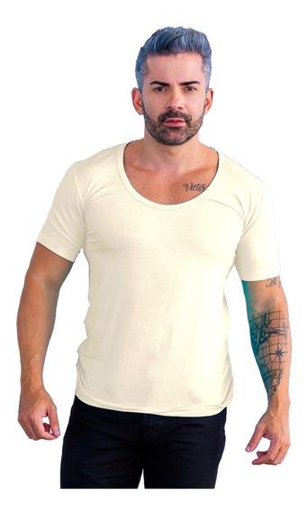 Camisa Masculina Casual Slim Fit Gola Canoa Manga Curta