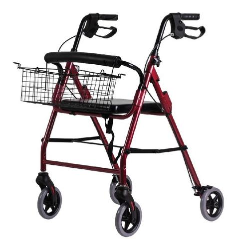 Andador Ortopédico Plegable C/ruedas Frenos Asiento Canasto