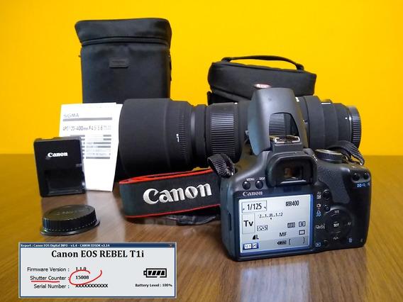 Canon T1i 15k Clicks + Lente Sigma Telefoto 120-400mm Os Hsm
