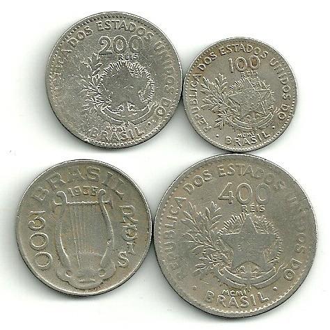 300 Réis 1938 + 1 Cruzeiro 1974 E 1979 + 33 Moedas Nacionais