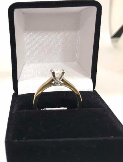 Anillo Compromiso Diamante 35pts Oro Amarillo Y Blanco 14k