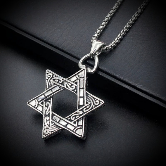 Colar Hexagrama Aço Inoxidável Estrela De Davi