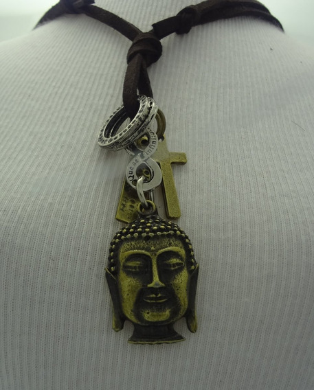 Colar Cordão De Couro Masculino E Feminino Hippie Buda Nt 31