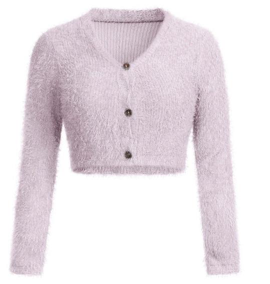 Sweater Pullover Cardigans Corto De Mujer Cuello En V