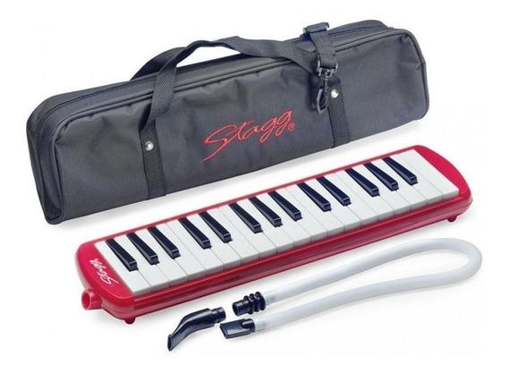 Melodica Piano 32 Notas, Funda Con Correa Profesional Rojo