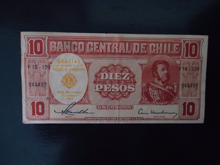 Nota Cédula 10 Dez Pesos 1960 Chile Comemorativa Clube Lions