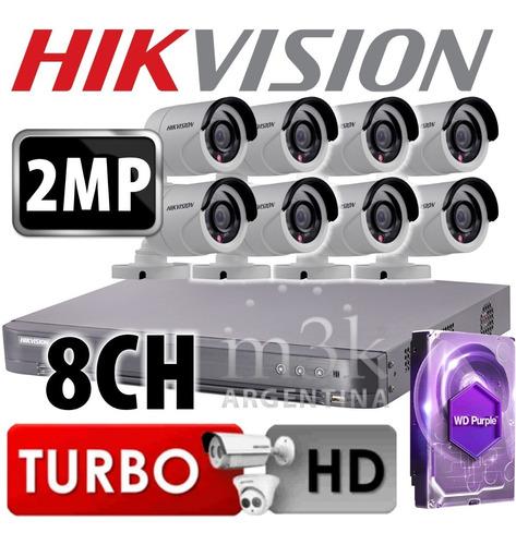 Kit Seguridad Hikvision Dvr 8 + 8 Camaras 2mp + 1tb