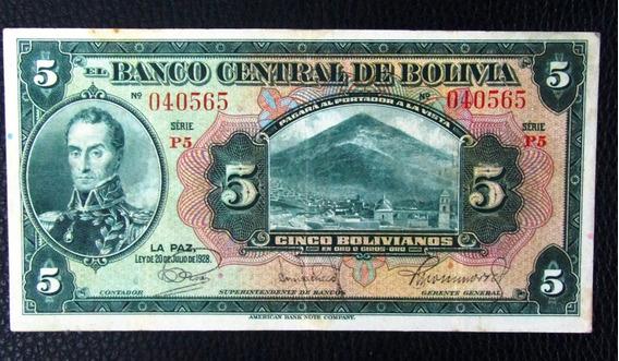 Bolivia Billete 5 Bolivianos Vf Pick 120 Año 1928