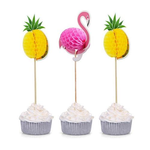 36 Topper Cupcake Abacaxi Flamingofesta Tropical