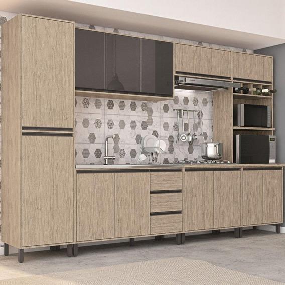 Cozinha Completa Móveis Sul Mdf 13 Portas 3 Gavetas 6 Peças