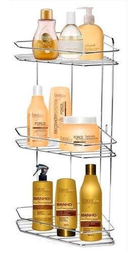 Imagem 1 de 5 de Porta Shampoo Xampu De Colocar Banheiro Canto 3 Lugares
