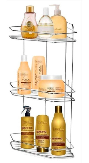 Porta Shampoo Xampu De Colocar Banheiro Canto 3 Lugares