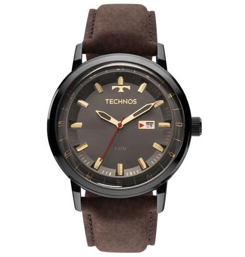 Relógio Technos Masculino Golf 2115laq/2c Preto Couro Marrom