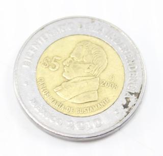 Carlos Maria De Bustamante $5 Moneda Indep Usado (ver Foto)