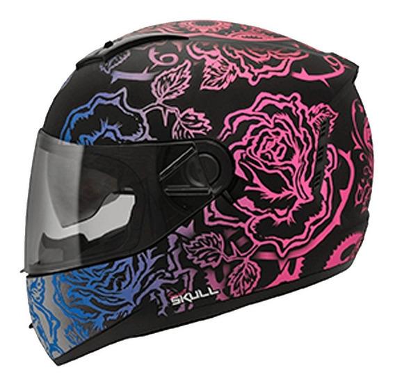 Capacete Feminino Moto Oculos Peels Icon Sweet Skull Preto