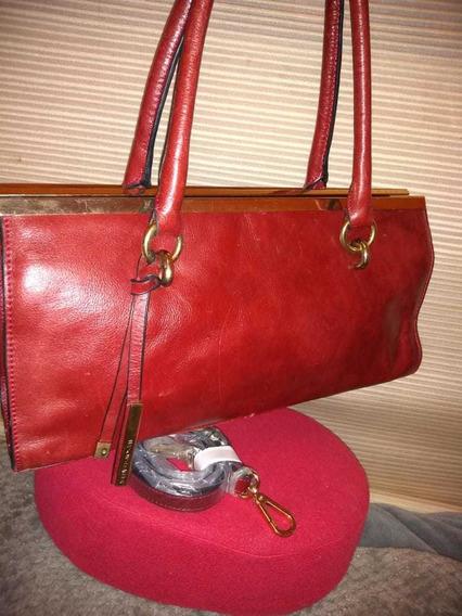 Cartera Wilsons Leather Cuero Original Rojo Vintage