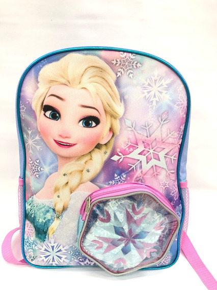 Mochila Frozen Elsa C/capa Azul