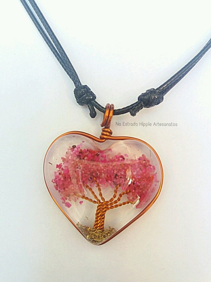 Colar Orgonite Coração Pedra Ágata Rosa