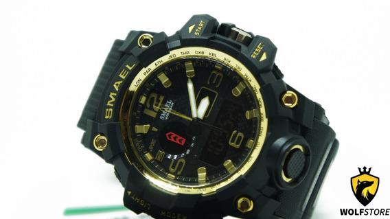 Relógio Masculino Militar Smael 1545 Prova Agua Gold