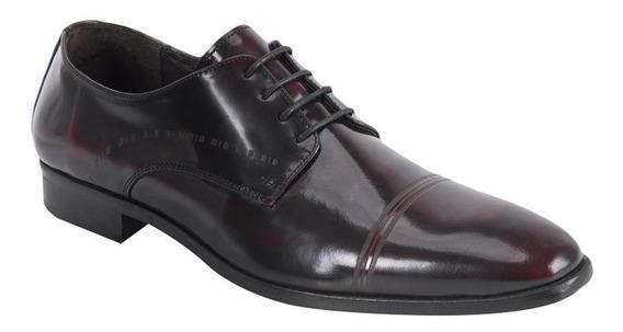 Zapato Vestir Hombre Schatz 0206 Vino De Piel Punta Redonda