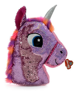 Almohadon Unicornio De Peluche Con Lentejuelas 45cm