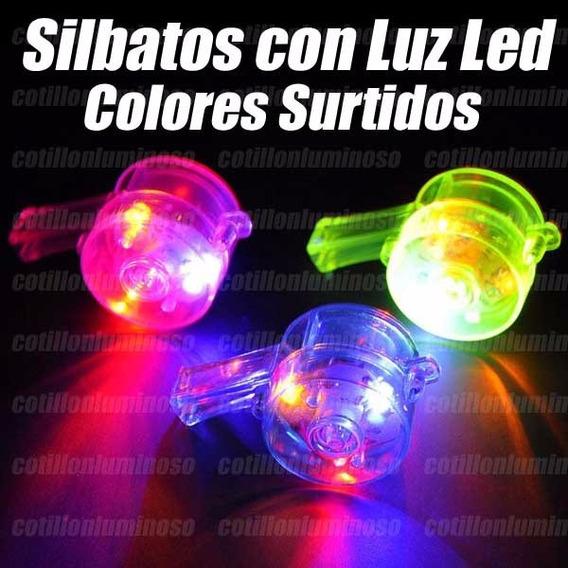 10 Silbato Con Luz Led Collares Cotillon Luminoso Carioca