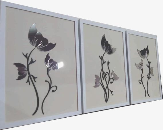 Quadro Sala Quarto 55x40cm Com Espelho