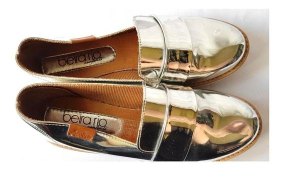 Sapato Feminino Beira Rio Prata Seminovo Número 33