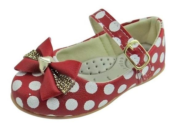 Sapato Boneca Baby Com Laço, Strass E Bolinha - Vermelha