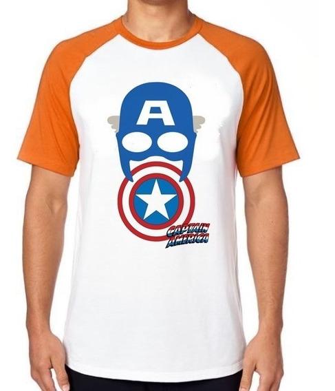 Camiseta Luxo Capitão América Máscara Escudo Vingadores Marv