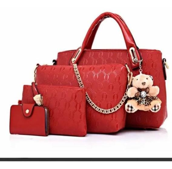 Bolsa Feminina Kit Conjunto De 4 Peças Luxo E Beleza