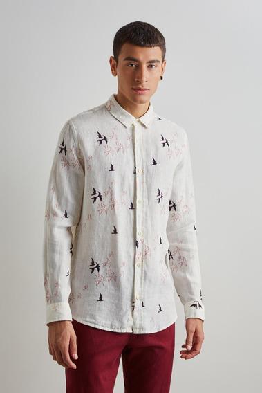 Camisa Estampada Ml Linho Bando Reserva