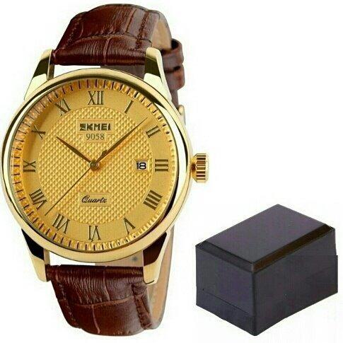 Relógio Skmei 9058 Masculino Luxo Ouro Pulseira Couro