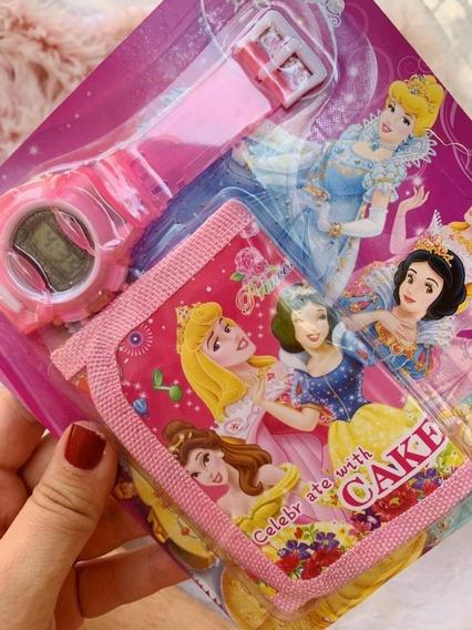 Relógio Infantil + Carteira Princesas