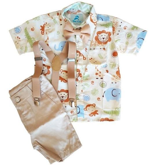 Roupa Festa Safari Camisa Temática Bebê Menino Pronta Entrega